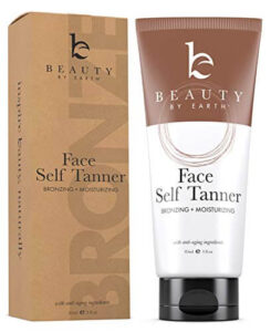 Beauty by Earth Self Tanner - With Organic Aloe Vera & Shea Butter, Sunless Tanning Lotion and Bronzer Buildable Light, Medium or Dark Tan for a Natural Looking Skin Tone, best inexpensive self tanner
