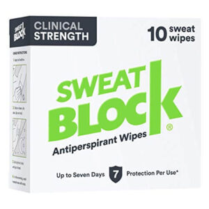 SweatBlock Clinical Strength antiperspirant wipes- treat hyperhidrosis and abnormal sweating, best deodorant to stop sweating underarms