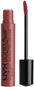 NYX PROFESSIONAL MAKEUP Liquid Suede Cream Lipstick - Soft Spoken, Pink with Light Gold Iridescence. best cream lipstick, best creamy lipstick drugstore, best liquid lipstick, best long lasting lipstick, best creamy lipstick that stays on, best creamy lipstick for dry lips